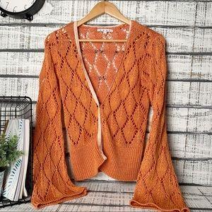 Cabi crochet bell sleeve cardigan sz M